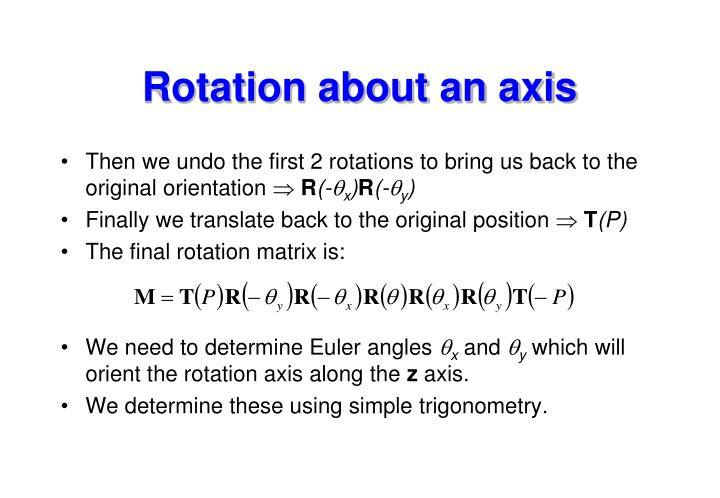 Rotation about an axis