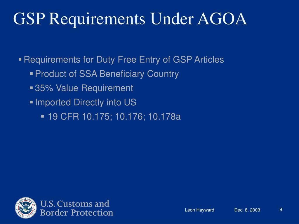 Requirements for Duty Free Entry of GSP Articles