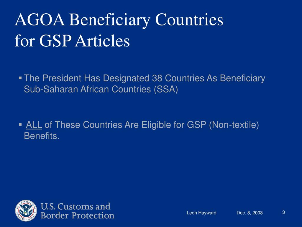 AGOA Beneficiary Countries for GSP Articles