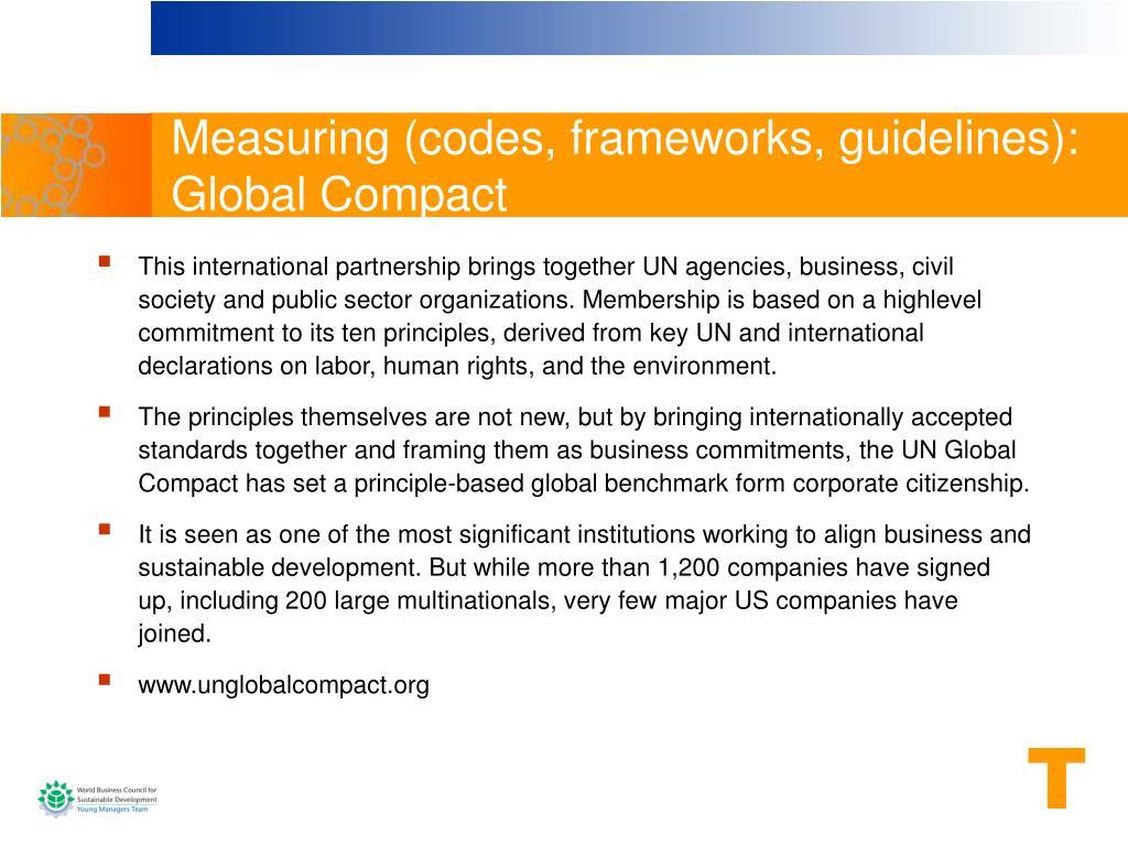 Measuring (codes, frameworks, guidelines):