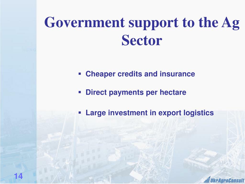 Government support to the Ag Sector