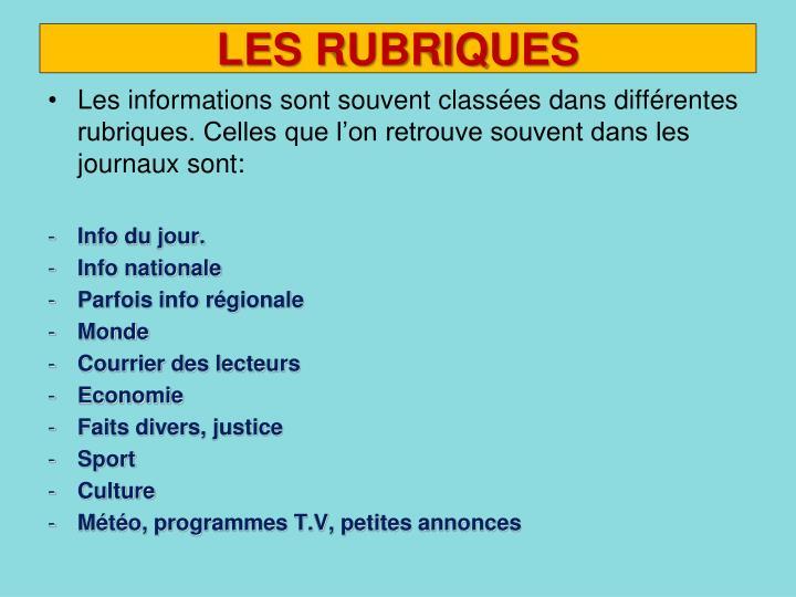 LES RUBRIQUES