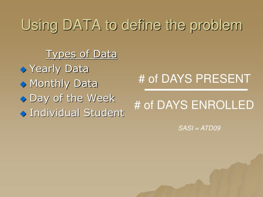 Using DATA to define the problem