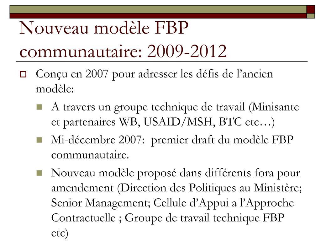 Nouveau modèle FBP communautaire: