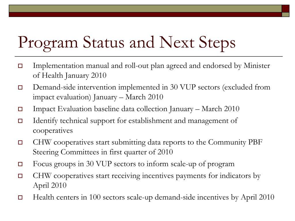 Program Status and Next Steps