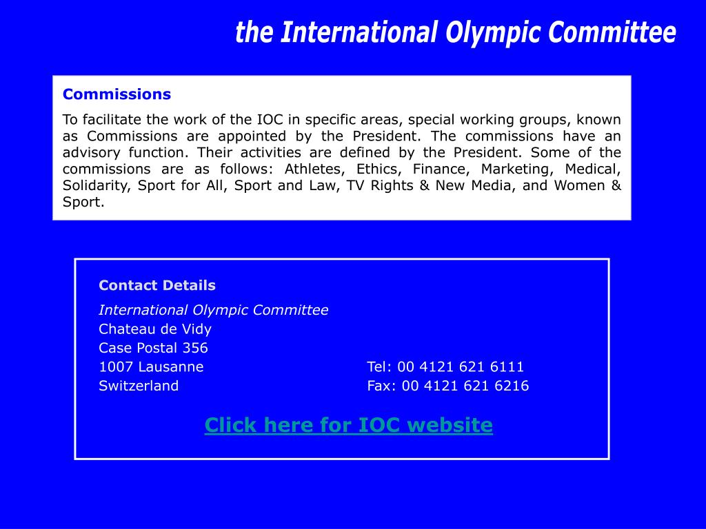the International Olympic Committee