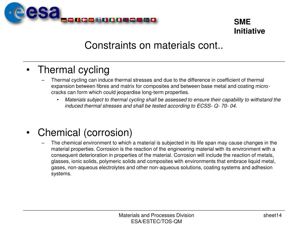 Constraints on materials cont..