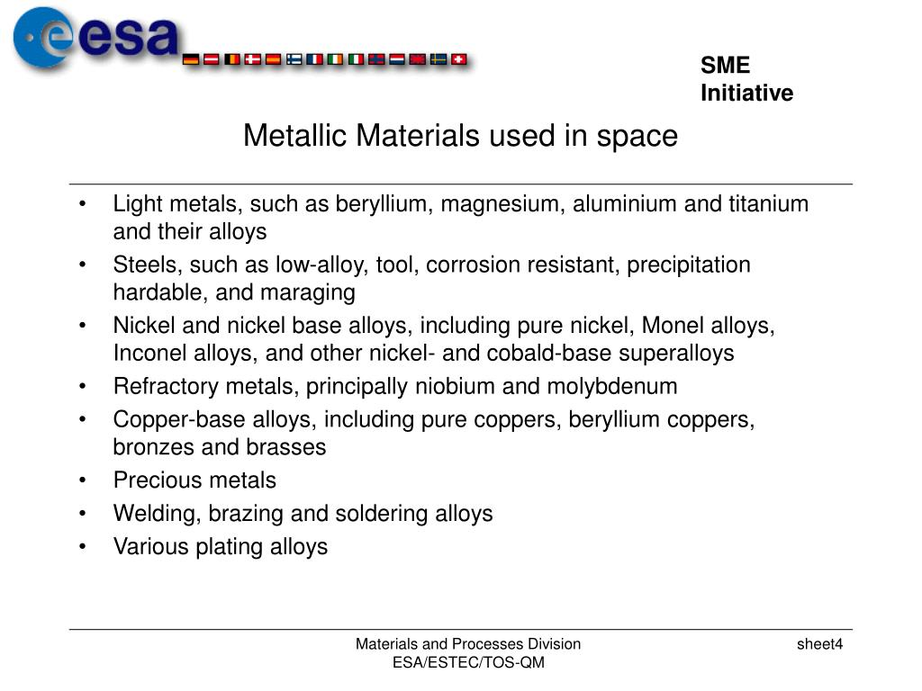 Metallic Materials used in space