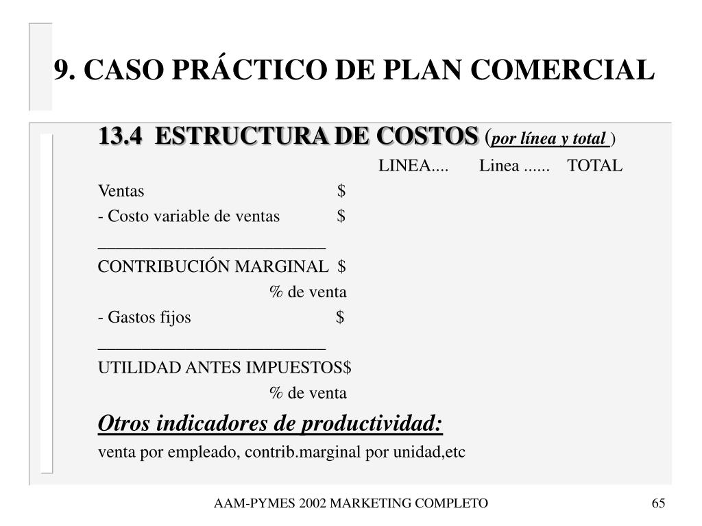9. CASO PRÁCTICO DE PLAN COMERCIAL