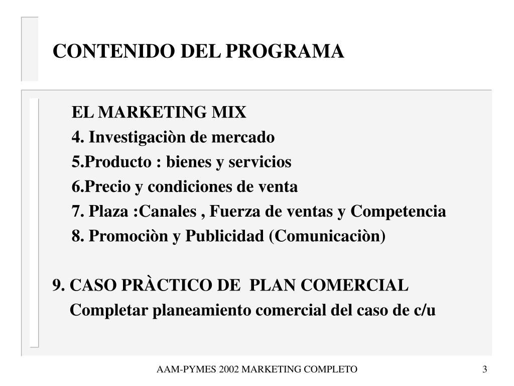 CONTENIDO DEL PROGRAMA