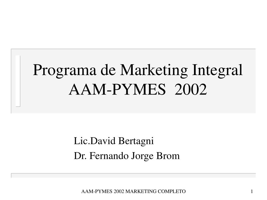 Programa de Marketing Integral