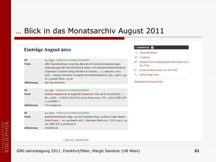 … Blick in das Monatsarchiv August 2011