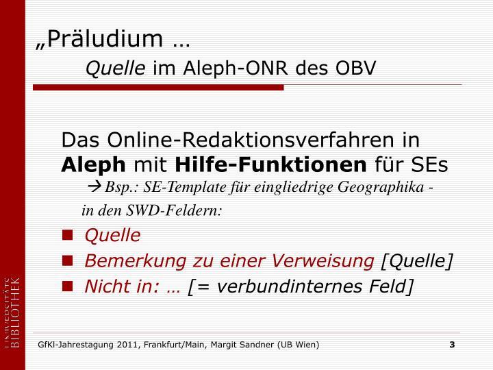 """""""Präludium …"""