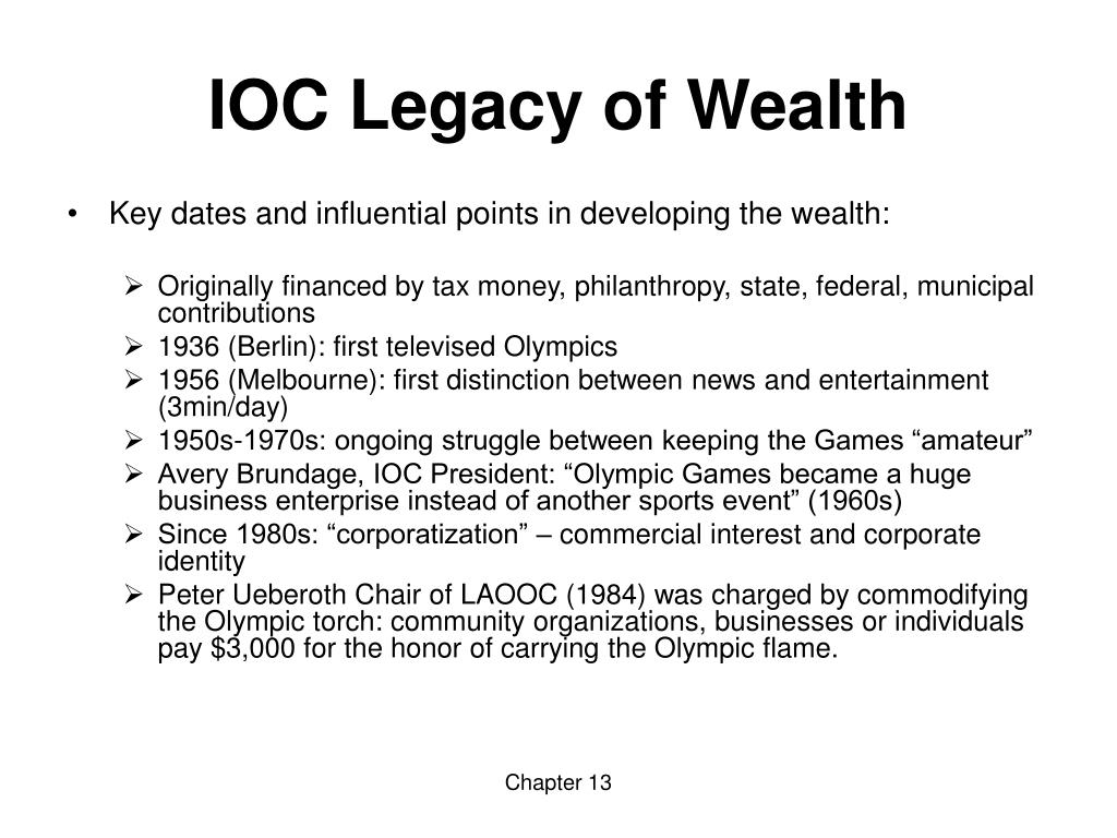 IOC Legacy of Wealth