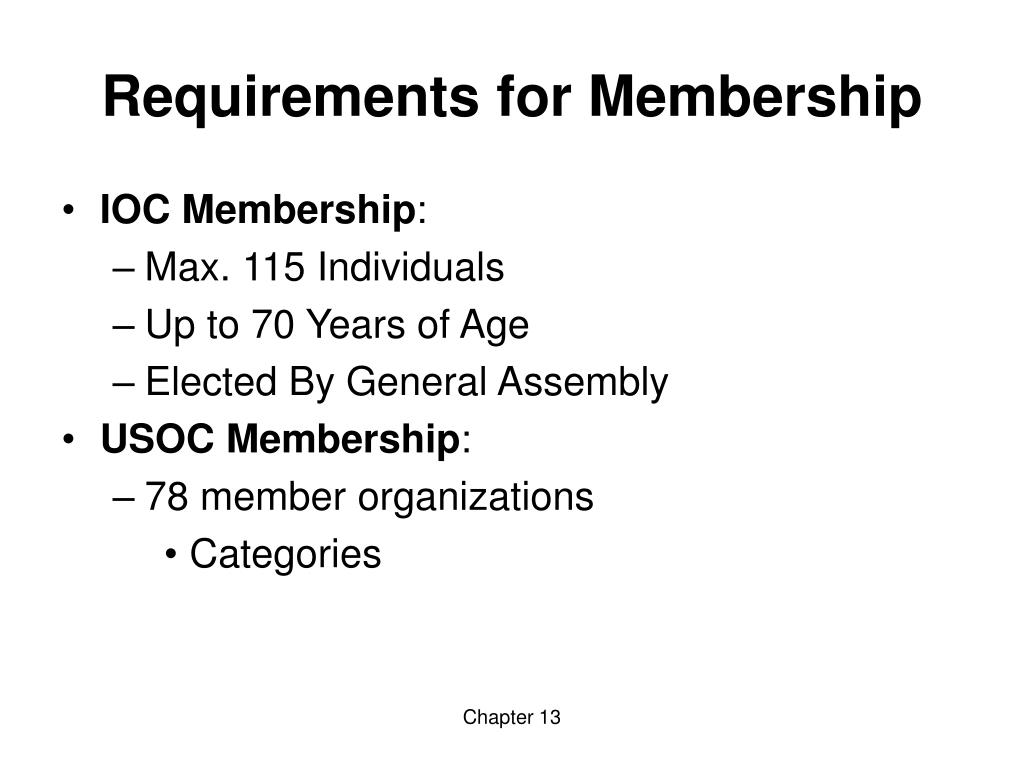 Requirements for Membership
