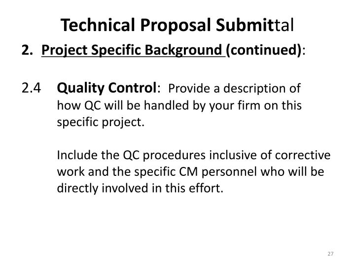 Technical Proposal Submit