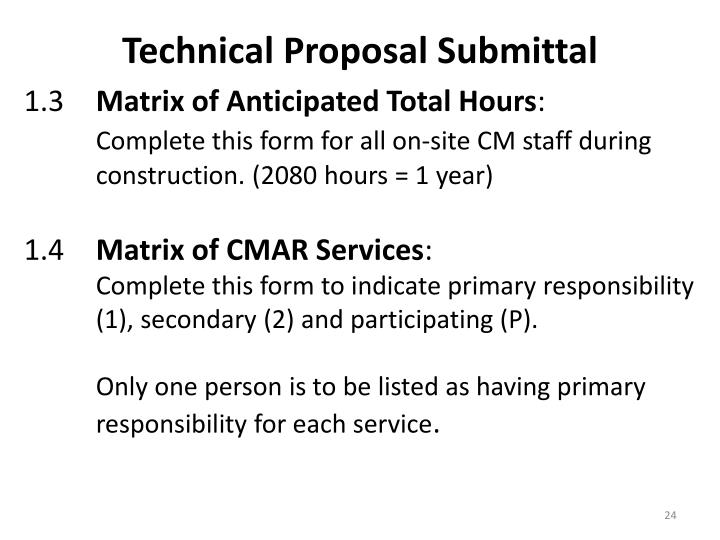 Technical Proposal Submittal