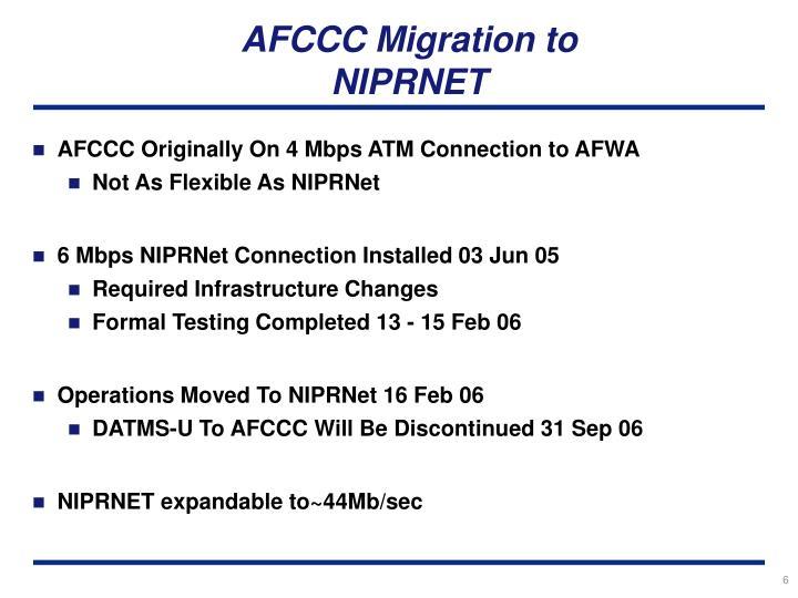 AFCCC Migration to NIPRNET