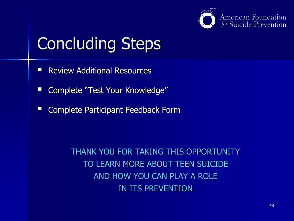 Concluding Steps