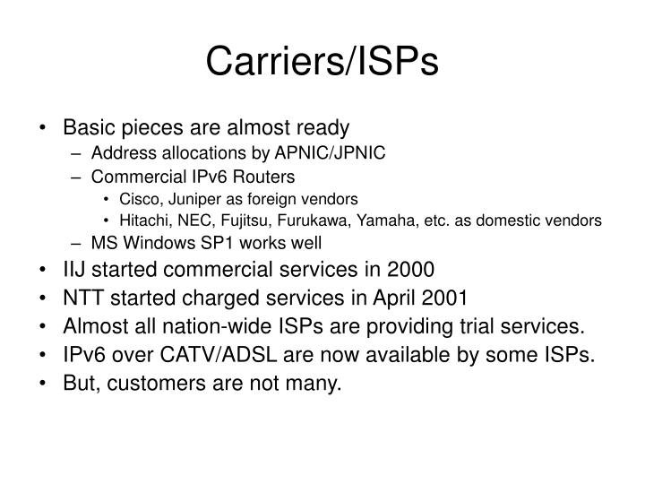 Carriers isps