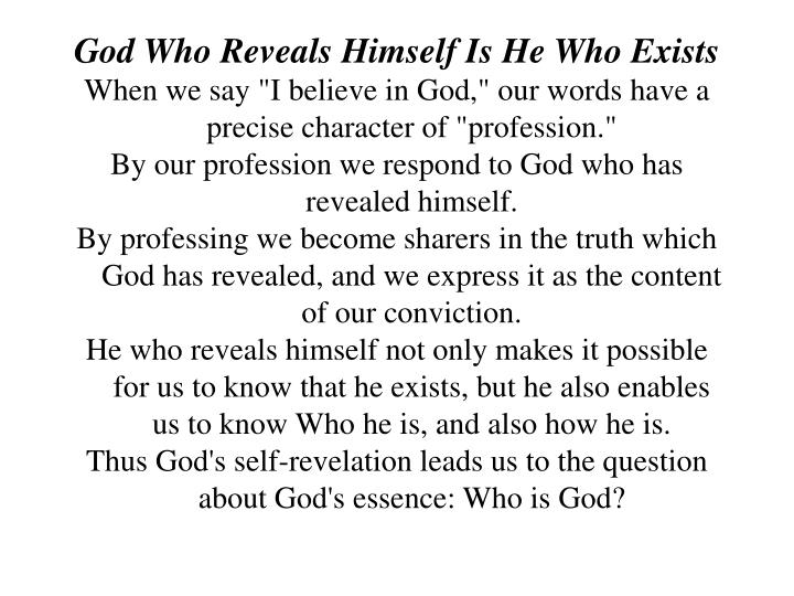 God Who Reveals Himself Is He Who Exists