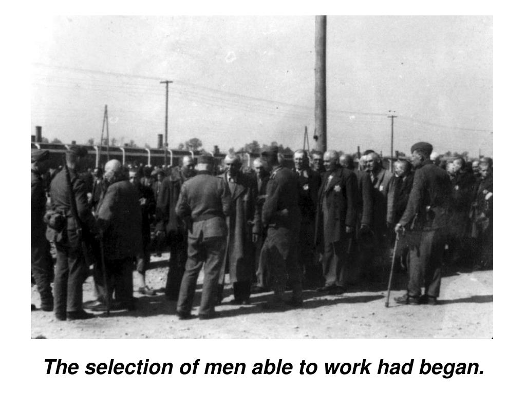 The selection of men able to work had began.