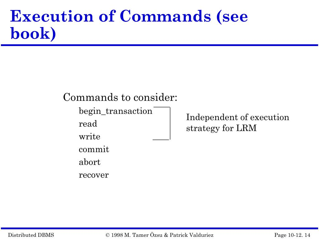 Execution of Commands (see book)