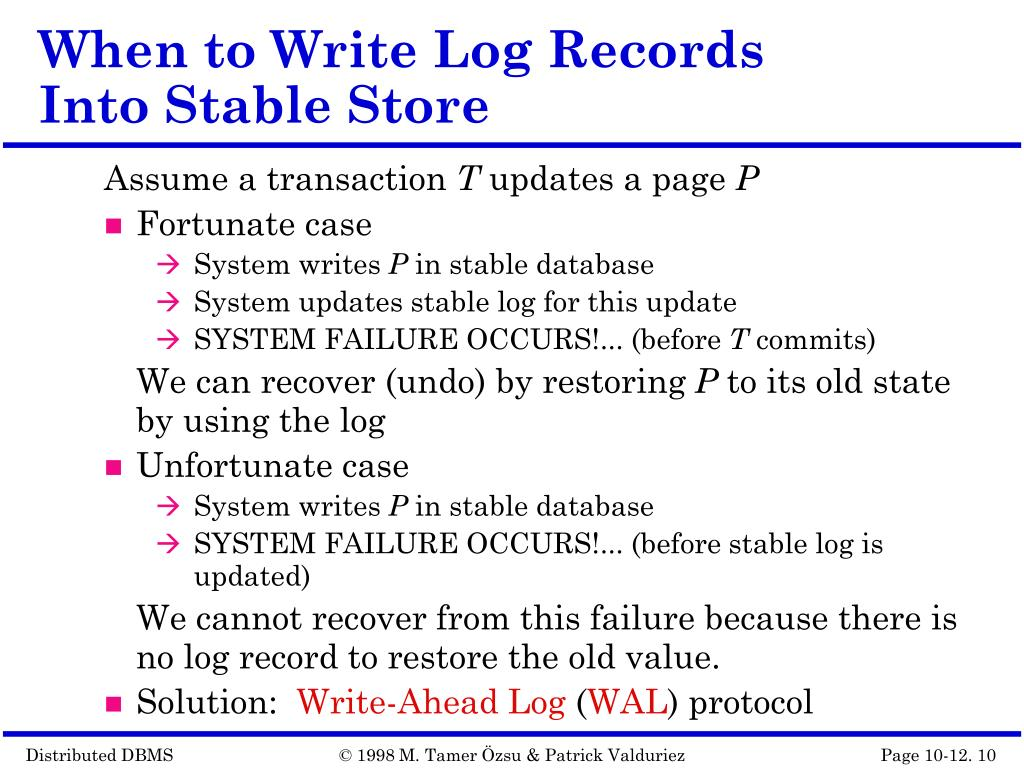 When to Write Log Records Into Stable Store