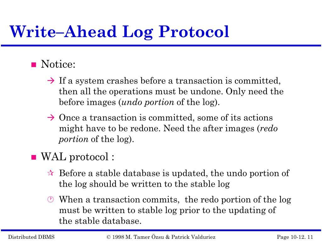 Write–Ahead Log Protocol