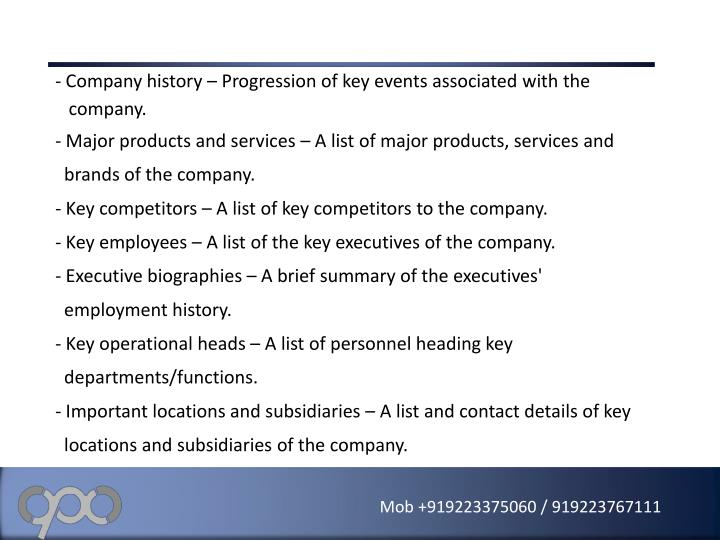 Company history – Progression of key events associated with the