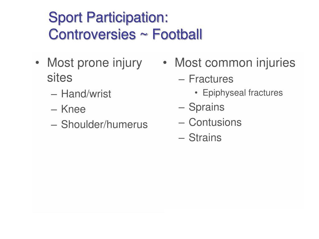 Most prone injury sites