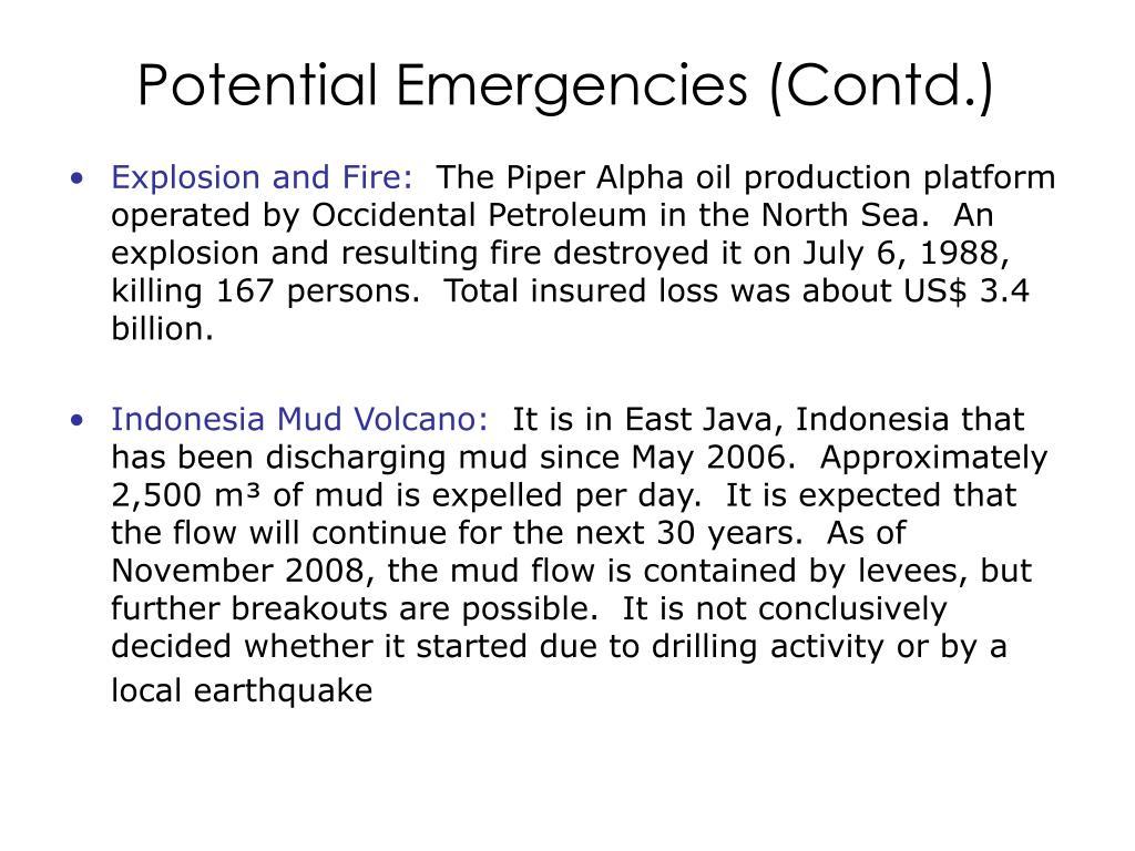 Potential Emergencies (Contd.)
