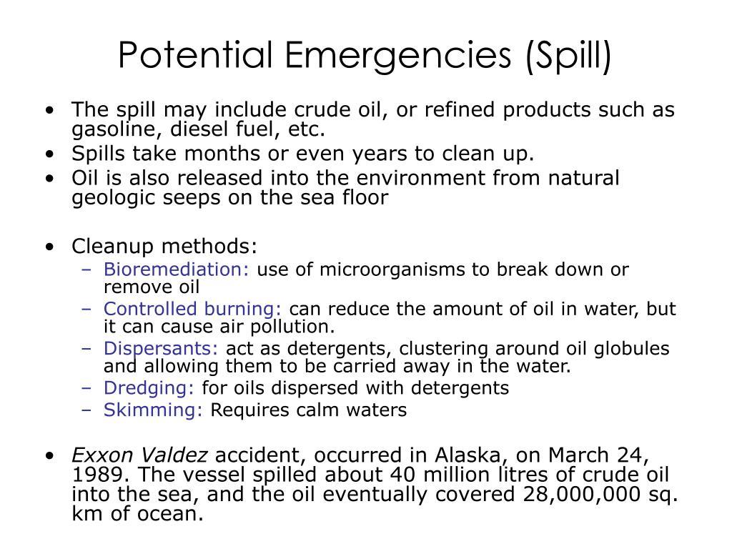 Potential Emergencies (Spill)