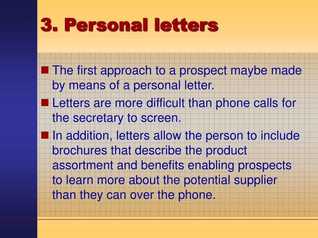 3. Personal letters