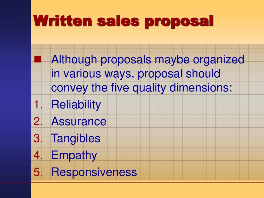 Written sales proposal