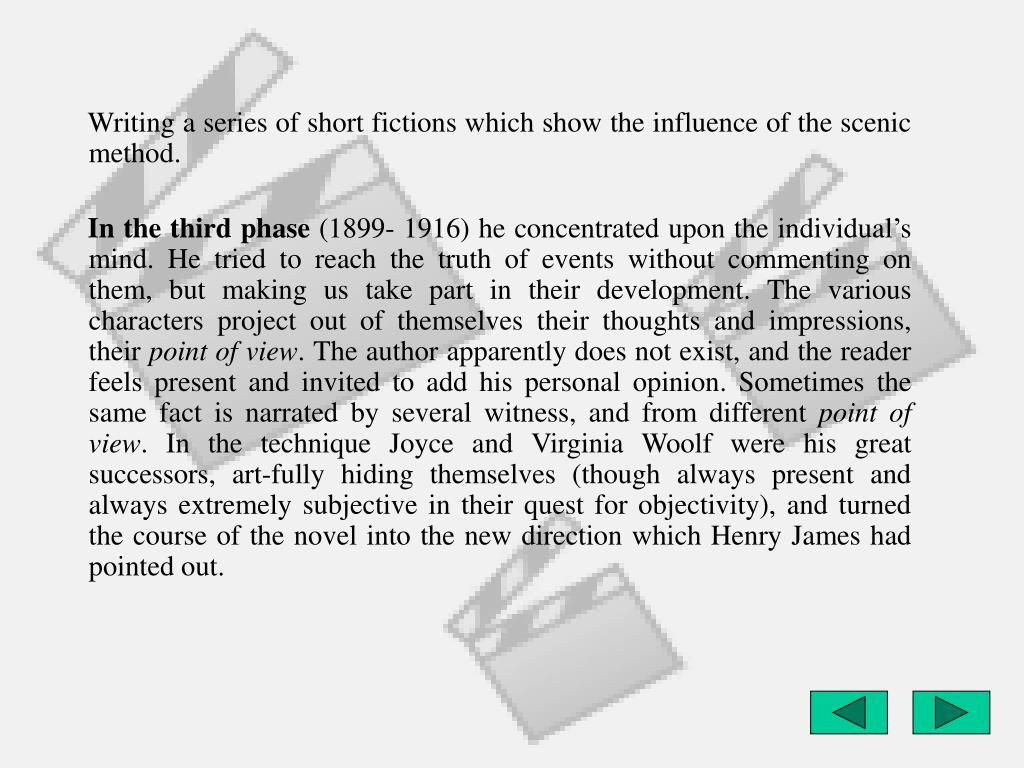 Writing a series of short fictions which show the influence of the scenic method.