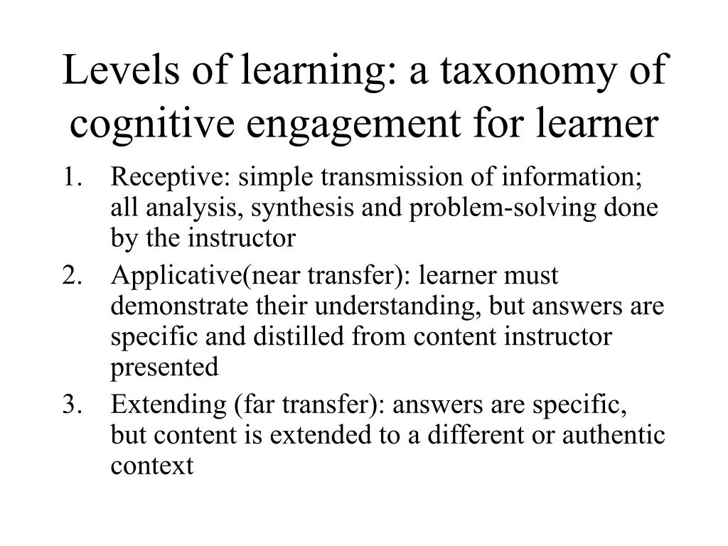 Levels of learning: a taxonomy of cognitive engagement for learner