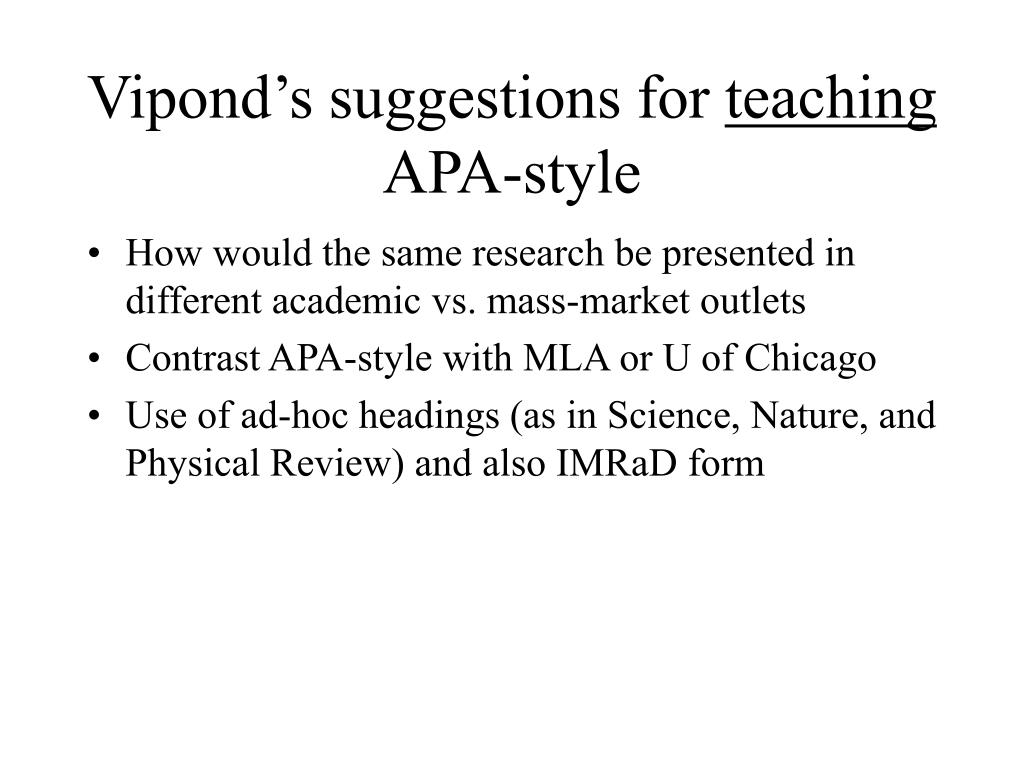 Vipond's suggestions for