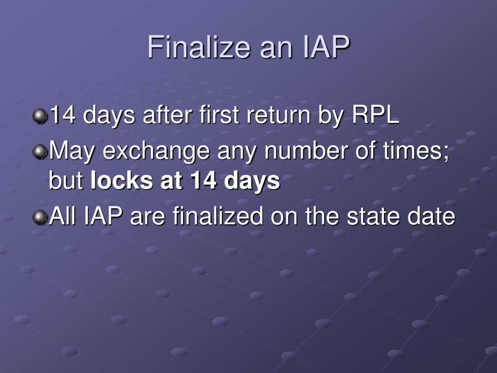 Finalize an IAP