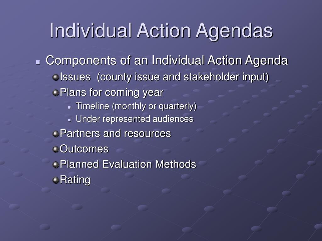 Individual Action Agendas