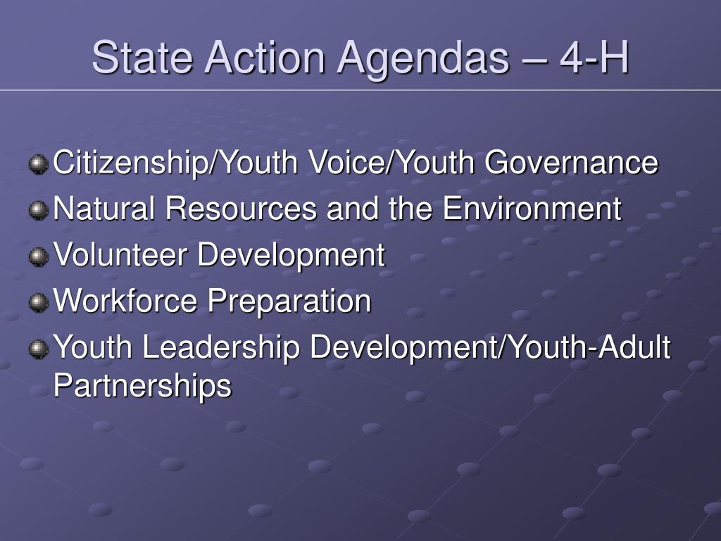State Action Agendas – 4-H