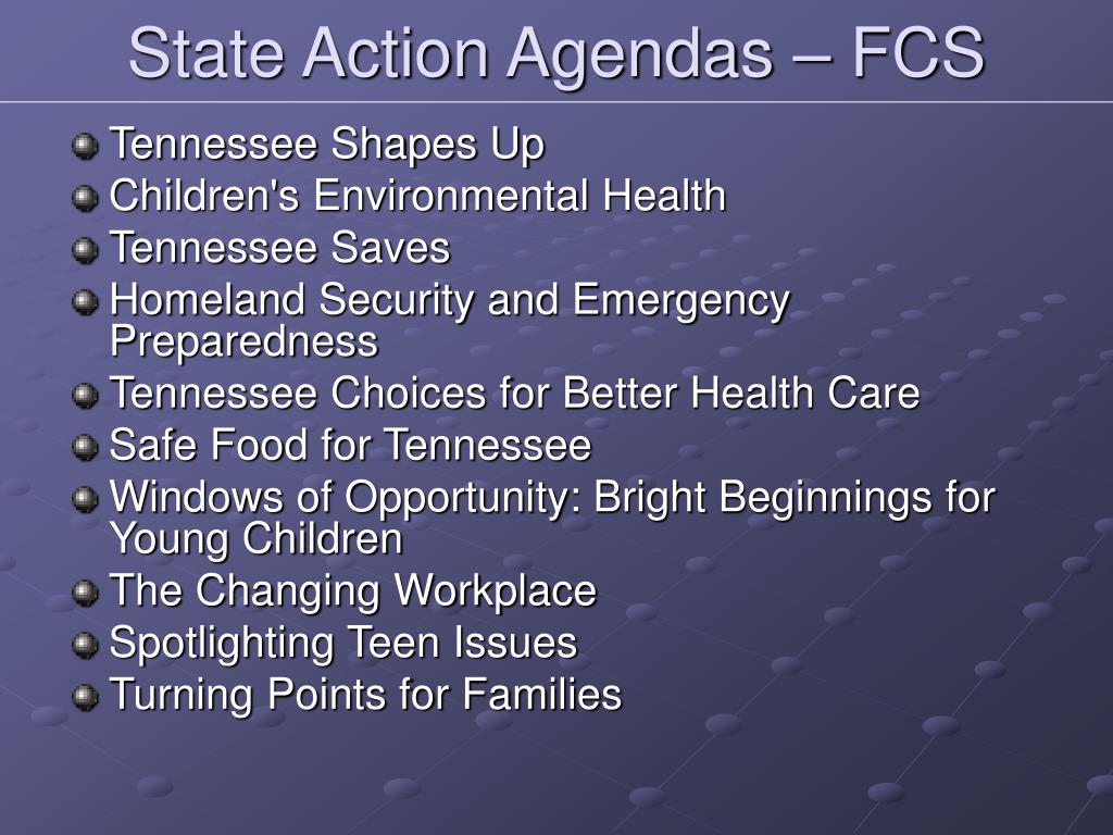 State Action Agendas – FCS