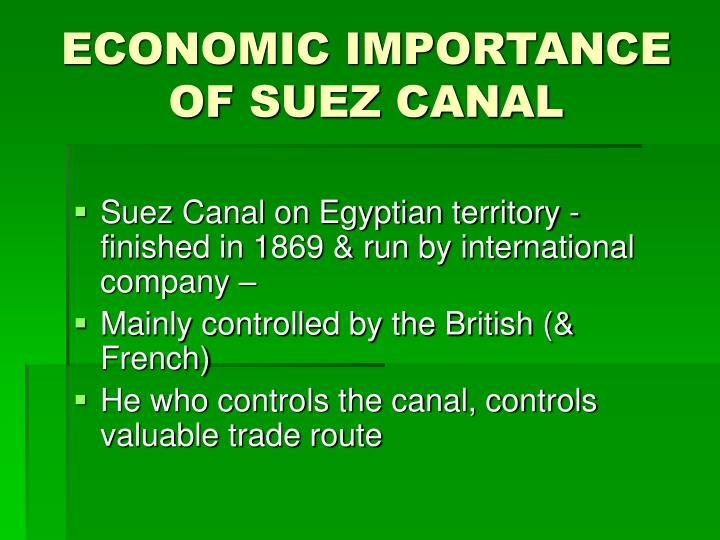 ECONOMIC IMPORTANCE OF SUEZ CANAL