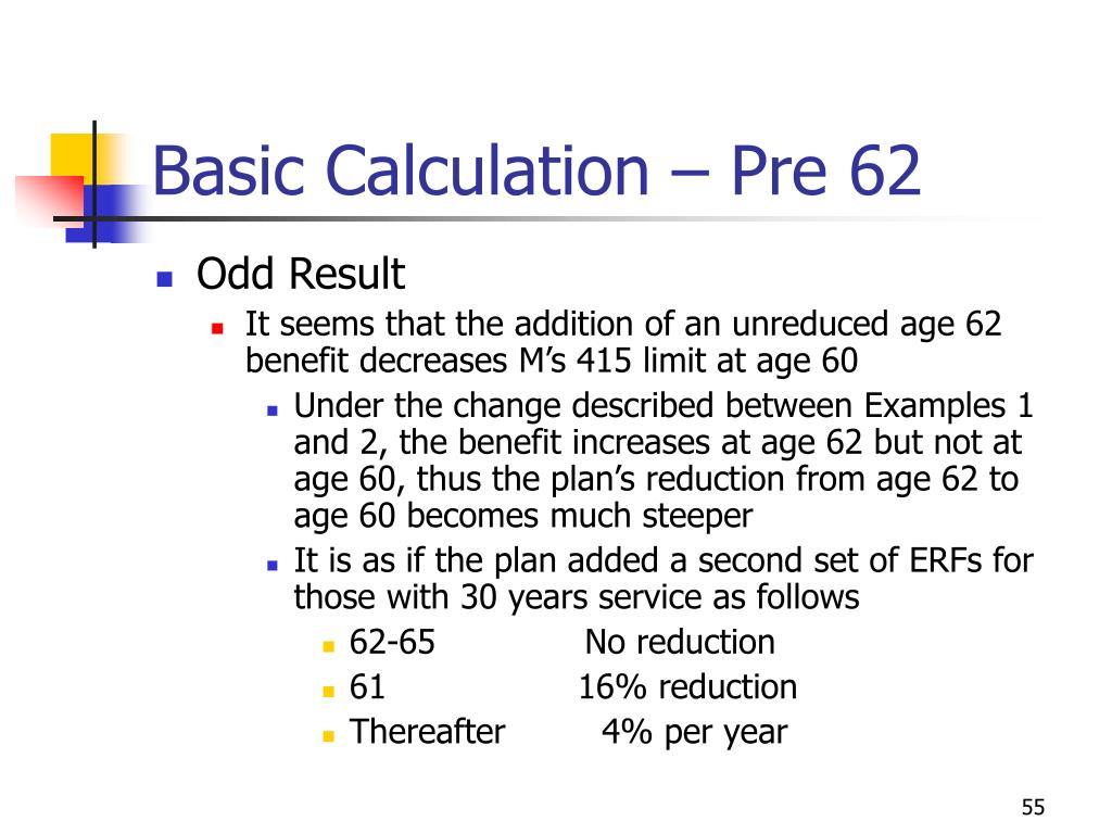 Basic Calculation – Pre 62