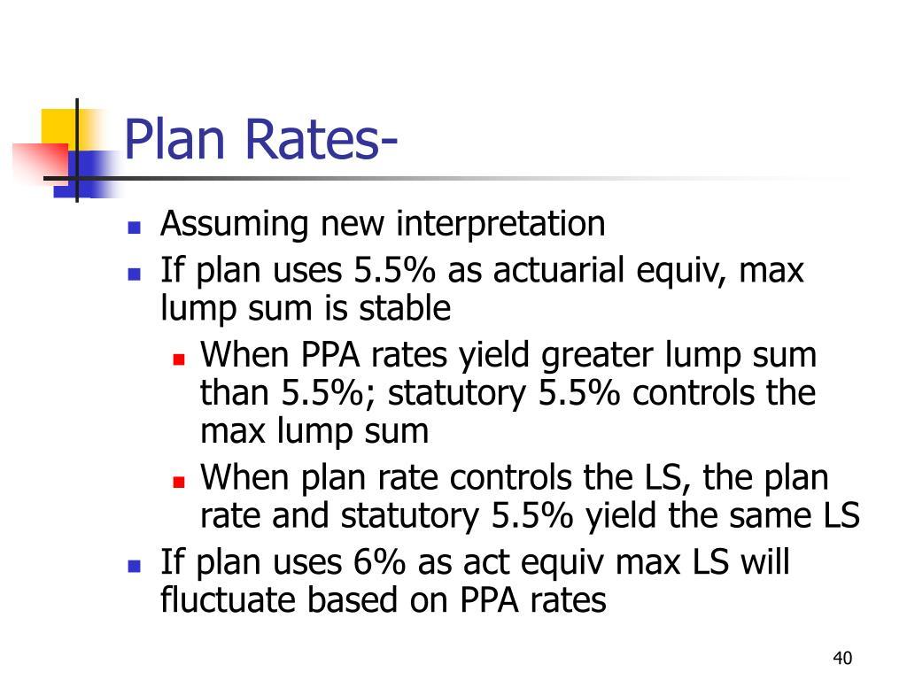 Plan Rates-