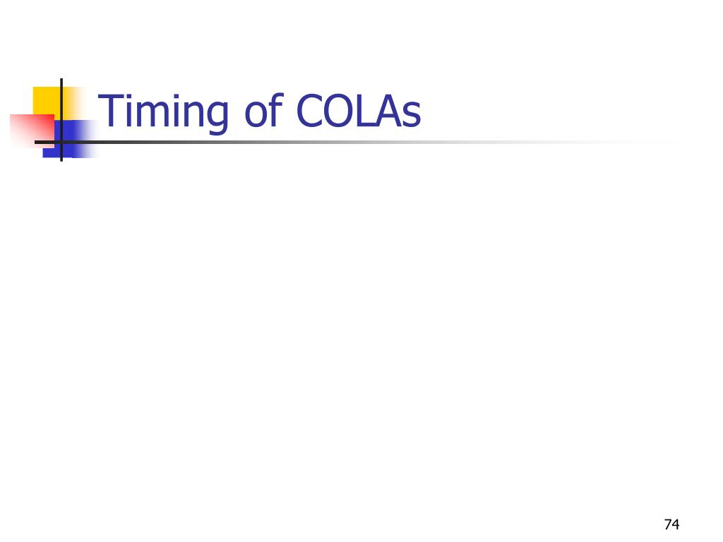 Timing of COLAs