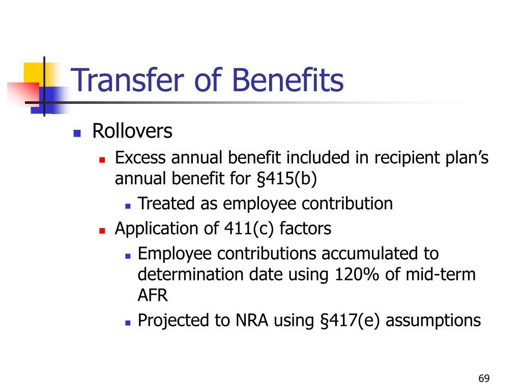 Transfer of Benefits