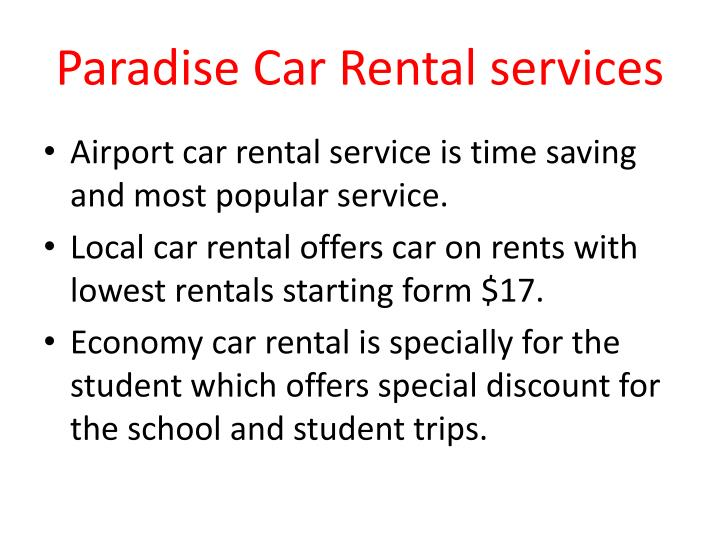 Paradise Car Rental services
