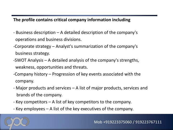 The profile contains critical company information including