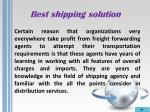 best shipping solution